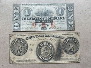 1862 $1 One Dollar & 1855 $3 Three Dollars Paper Money Bills