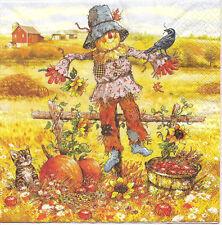 4 Single Paper Napkins for Decoupage George Scarecrow Pumpkin Bird