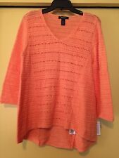 NEW Style & Co Peach Sweater, Linen/Cotton, Size Large, NWT $54