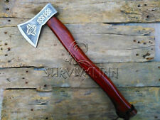 CUSTOM HANDFORGED NORSE VIKING AXE WITH LEATHER SHEATH,BEAUTIFUL ETCHING