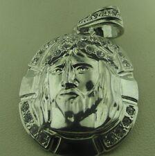"92.5 Sterling Silver CZ Jesus  Charm Pendant 25.4 grams Length is 2.25"""