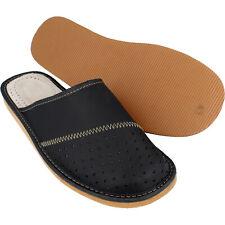 Herren LEDER HausSchuhe Pantoffeln der Klassiker in schwarz bis Schuhgröße 50