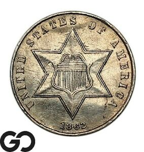 1862 Three Cent Silver Piece, Very Sharp Collector Type Coin
