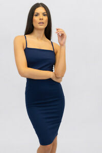 New Uk Womens Ladies Party Night Out Sleeveless Strappy Square Neck Midi Dress