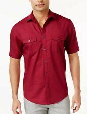 Alfani Men's Warren Shirt Red Size L Button Down Short Sleeve Solod Color
