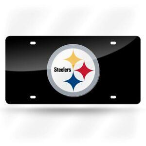 Pittsburgh Steelers NFL Black Logo Mirror Look LASER License Plate