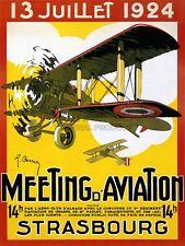 Advert Exhibition Airshow Plane Biplane Vintage Strasbourg France Canvas Print