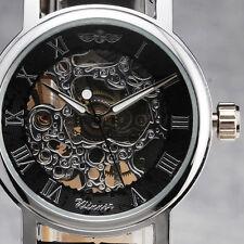 Fashion Watch Cute Women Auto Mechanical Skeleton Wrist Watch Black Silver hot