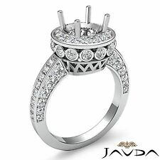 Round Halo Pave Diamond Engagement Filigree Semi Mount 0.7Ct Ring 14k White Gold