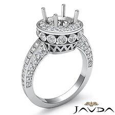 Round Halo Pave Diamond Engagement Filigree Semi Mount 0.7Ct Ring 14k White Gold