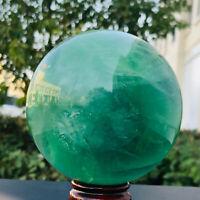 1620g Natural green fluorite quartz crystal ball luster healing0273