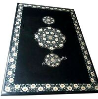 48 x 72 Inches Marble Dinning Table Top Black Lawn Table with Pietra Dura Art