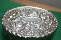 "Vietri Hillsborough Silver Painted Trinket Box~Italy~Leaves Grapes Nuts 5 3/8"" w"