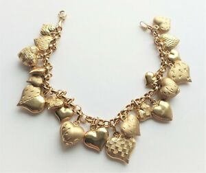 Milor Italy 14K Gold Puffy Heart Charm Bracelet With 20 Charms
