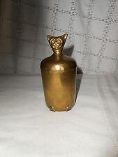 Vintage brass cat jar w/lid or cup w/lid unique piece!