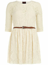 Dorothy Perkins/Ruby Rocks Lace Mini 3/4 Sleeve Belt Dress 14  Cream