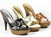 High Heel Platform Mules Sandals Anne Michelle Fabulous-02 Black Brown Beige