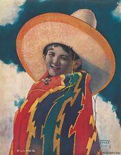 """RARE OLD ORIGINAL1933 MEXICAN BOY """"MY DADDY'S HAT"""" PONCHO SOMBRERO  HG VILLA ART"""
