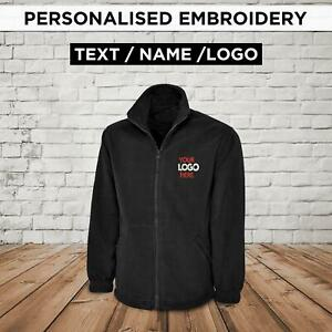 Personalised Embroidered Fleece Jacket Work Wear Embroidered Logo Text Custom