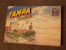 """Tampa, FL, Linen Souvenir Folder, """"Tampa, FL, The Army Air Base City"""" 1946"""