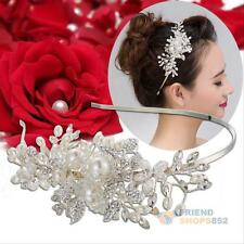 Women Girl Crystal Flower Head Chain Tiara Jewelry Headband Head Piece Hair band