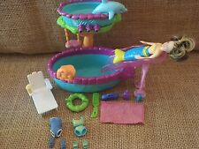 Polly Pocket Pool Mermaid Play Set Lot Waterfall Doll Color Change Clothes P60