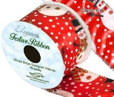 Eleganza Satin Wired Edge Snowman Ribbon 63mm x 10yds