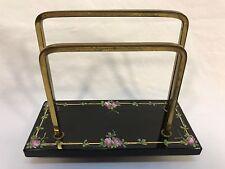 Vintage Hand Painted Roses Black Glass & Brass Napkin or Desk Letter Holder