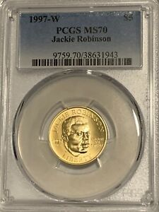 1997-W $5 Jackie Robinson Gold Commemorative Coin PCGSMS70