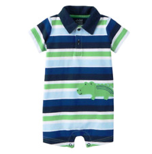 NWT Child Of Mine by Carter's Newborn Baby Boy Collared Romper Stripes