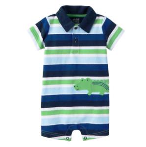NWT Child Of Mine by Carter's Newborn Baby Boy Collared Romper Stripes