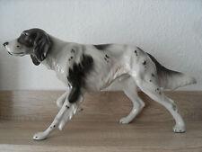 Grosser Keramos Hund, Wien, Jagdhund, Porzellanhund, laufender Pointer, alt