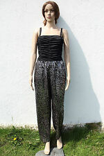 Vintage 1980s Black/Silver Rouched Jumpsuit Catsuit All-in-One Fancy Dress 12-14