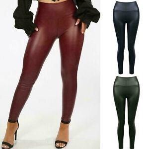 Women's PU Matt Leather Look Leggings Ladies Effect Fleece Stretch Trousers New