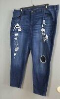 Lane Bryant Skinny Jeans Plus Size 26 Dark Blue Distressed Stretch LIned Black