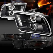 05-09 Mustang LED Halo Projector Headlights Black+Smoke Bumper Lamp