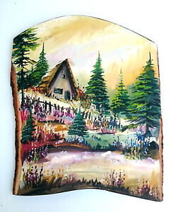 Wooden Wall Hanging handmade home decoration, image of a cottage in the woods