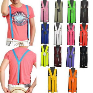 US Unisex Elastic Y-Shape Braces Mens Womens Clip-on Suspenders Adjustable^^
