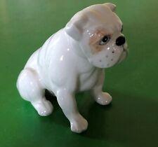 BESWICK DOG BULLDOG SEATED  No.3379 SMALL WHITE WITH TAN PATCH GLOSS  PERFECT