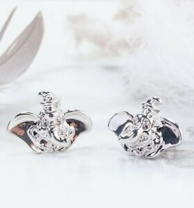 Official White Gold Plated Dumbo Stud Earrings