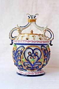 Rare vintage Giulia Mangani Sevres style porcelain potpourri pot