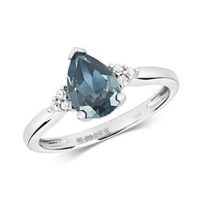 9ct White Gold Diamond and Pear Cut London Blue Topaz Cocktail Ring