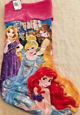 Disney Parks Merchandise Princess Christmas Stocking Ariel,Belle,Rapunzel &Cindy