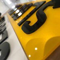 Pair 4D Number Plates Font & Rear 4D Laser Cut Raised Gloss Black 100% Legal