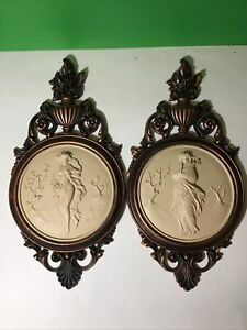 Vintage goddess cameo relief plaques copper brush Dart Inc 4056A & B nouveau art
