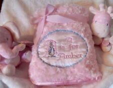 PERSONALISED BABY BLANKET APPLIQUE BEATRIX POTTER PETER RABBIT BLUE WHITE  PINK