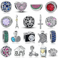 VOROCO Beautiful Charm Beads S925 Sterling Silver Pendant For Bracelets Present