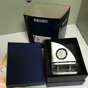 Seiko QHG017SLH Mantle Crystal & Stainless Steel Sailboat Desk Clock~BNIB