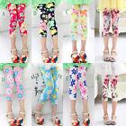 Silk Cotton Kids Girl Baby Flower Floral Printed Leggings Pants Trousers 3-12Y