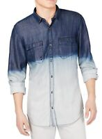 INC Mens Shirt Blue Size XL Button Down Ombre Longsleeve Dual-Pocket $65 #205